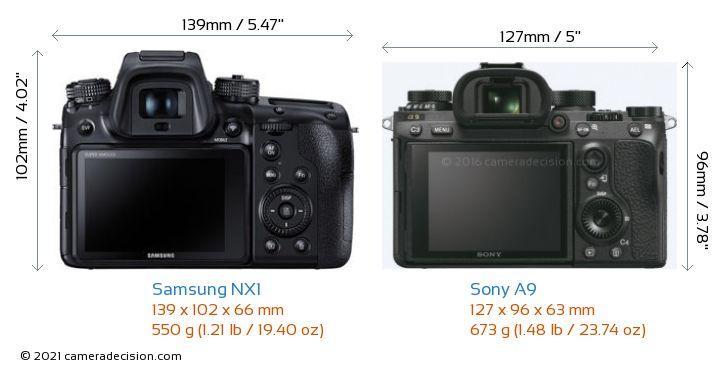 Samsung NX1 vs Sony A9 Camera Size Comparison - Back View