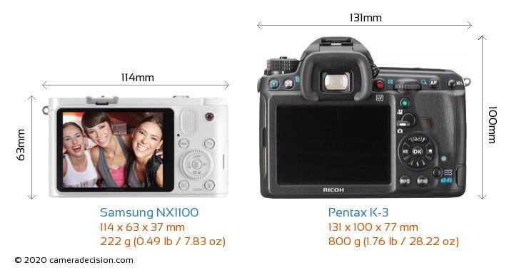 Samsung NX1100 vs Pentax K-3 Camera Size Comparison - Back View