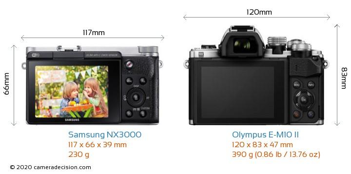 Samsung NX3000 vs Olympus E-M10 II Camera Size Comparison - Back View