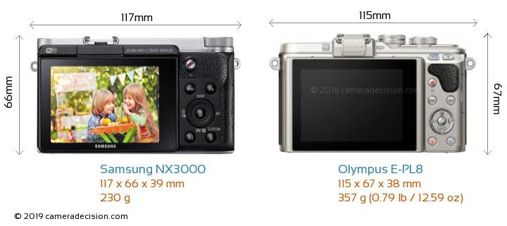 Samsung NX3000 vs Olympus E-PL8 Camera Size Comparison - Back View