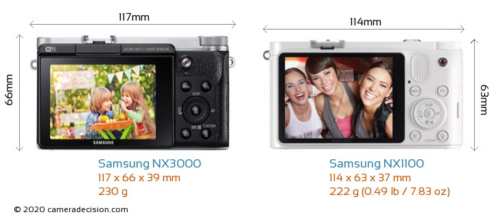Samsung NX3000 vs Samsung NX1100 Camera Size Comparison - Back View