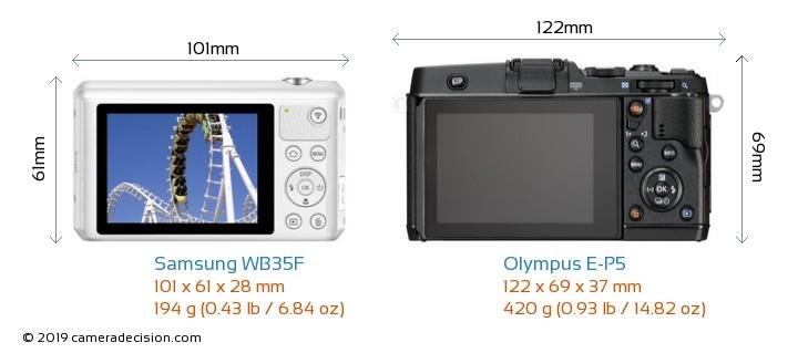 Samsung WB35F vs Olympus E-P5 Camera Size Comparison - Back View