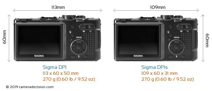 Sigma DP1 vs Sigma DP1s Camera Size Comparison - Back View
