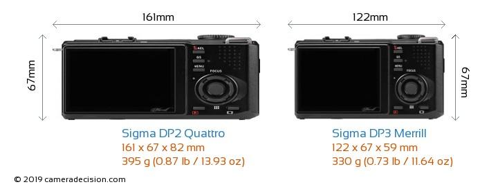Sigma DP2 Quattro vs Sigma DP3 Merrill Camera Size Comparison - Back View