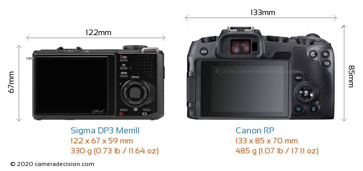 Sigma DP3 Merrill vs Canon RP Camera Size Comparison - Back View