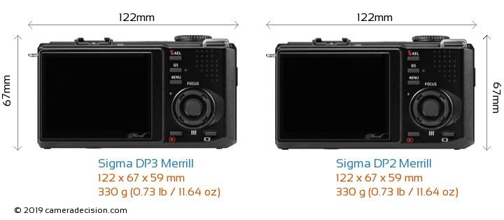 Sigma DP3 Merrill vs Sigma DP2 Merrill Camera Size Comparison - Back View