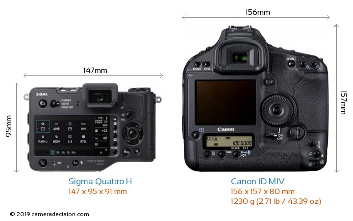 Sigma Quattro H vs Canon 1D MIV Camera Size Comparison - Back View