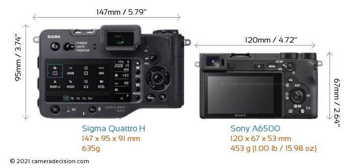 Sigma Quattro H vs Sony A6500 Camera Size Comparison - Back View