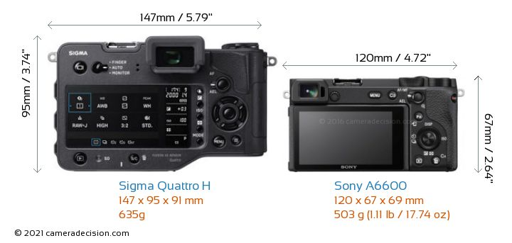 Sigma Quattro H vs Sony A6600 Camera Size Comparison - Back View