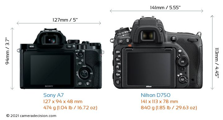Sony A7 vs Nikon D750 Camera Size Comparison - Back View