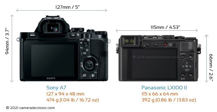 Sony A7 vs Panasonic LX100 II Camera Size Comparison - Back View