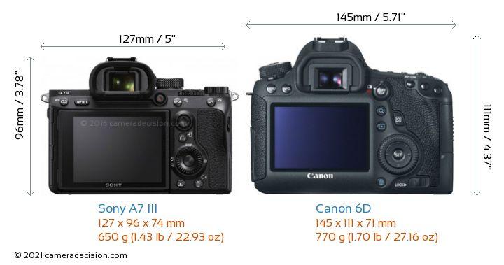 Sony A7 III vs Canon 6D Camera Size Comparison - Back View