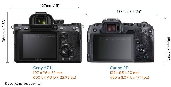 Sony A7 III vs Canon RP Camera Size Comparison - Back View