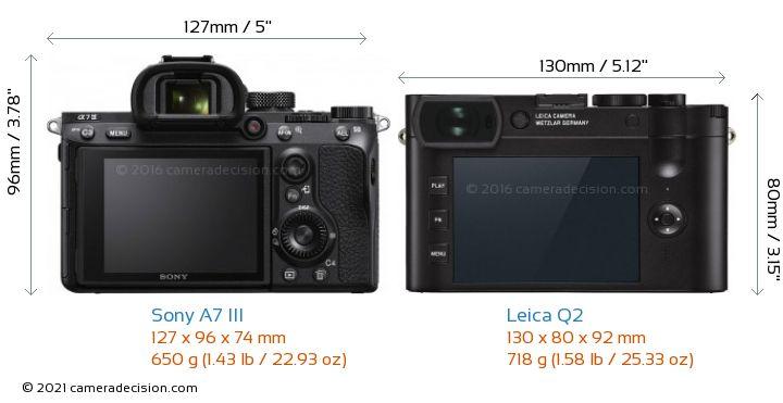 Sony A7 III vs Leica Q2 Camera Size Comparison - Back View