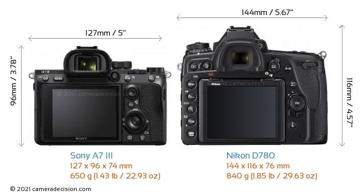 Sony A7 III vs Nikon D780 Camera Size Comparison - Back View