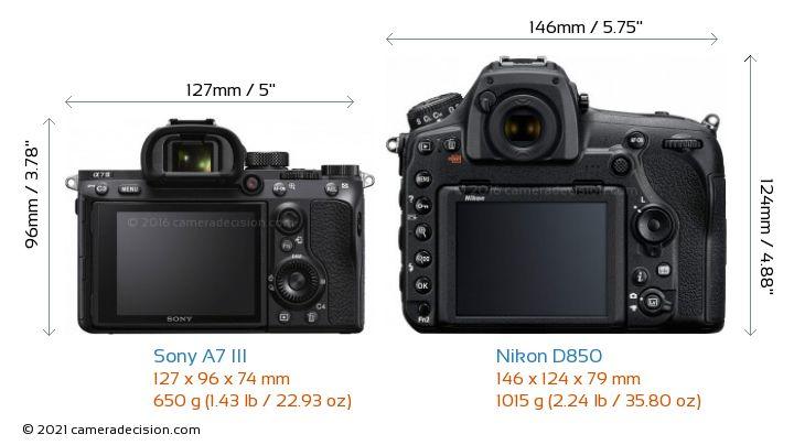Sony A7 III vs Nikon D850 Camera Size Comparison - Back View
