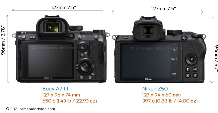 Sony A7 III vs Nikon Z50 Camera Size Comparison - Back View