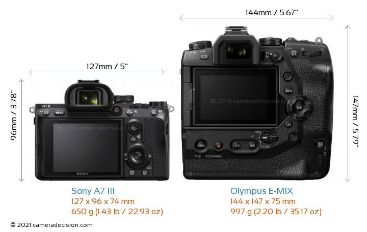 Sony A7 III vs Olympus E-M1X Camera Size Comparison - Back View