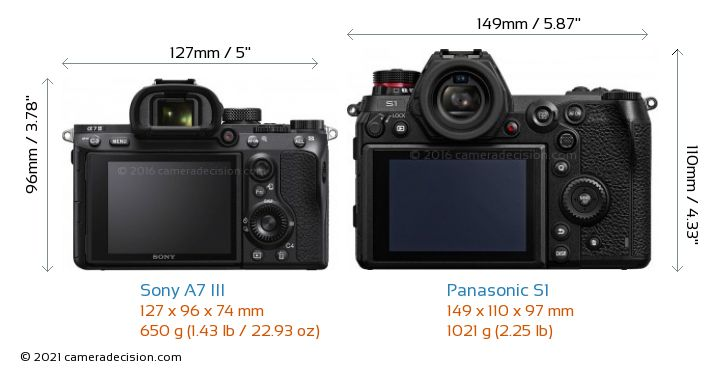 Sony A7 III vs Panasonic S1 Camera Size Comparison - Back View