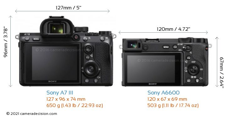 Sony A7 III vs Sony A6600 Camera Size Comparison - Back View