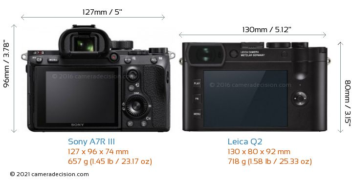 Sony A7R III vs Leica Q2 Camera Size Comparison - Back View