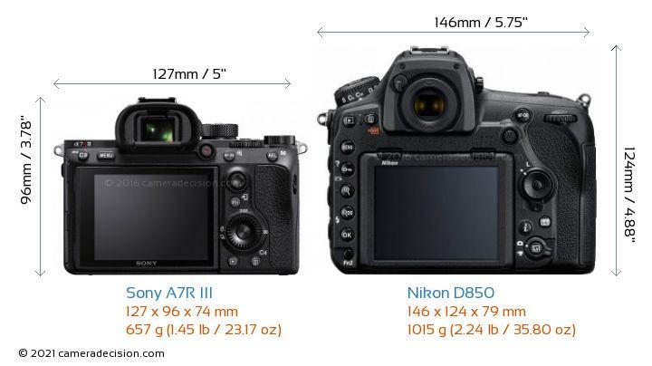 Sony A7R III vs Nikon D850 Camera Size Comparison - Back View