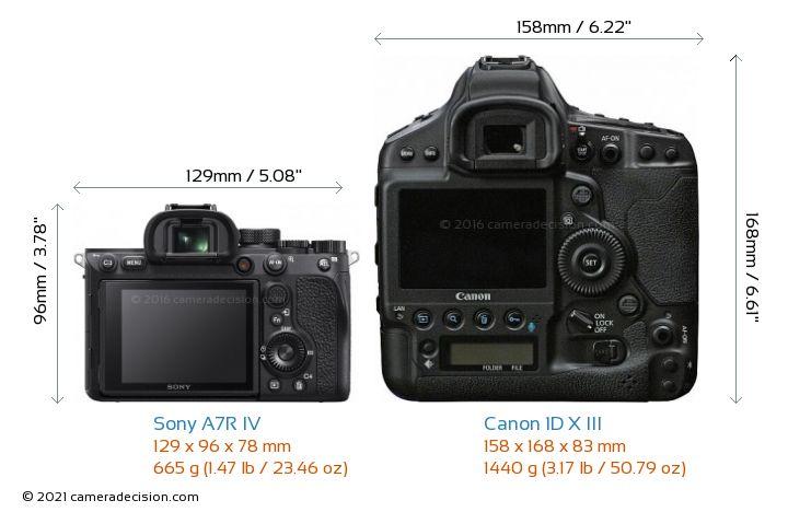 Sony A7R IV vs Canon 1D X III Camera Size Comparison - Back View