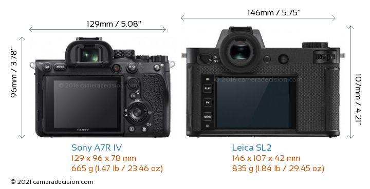 Sony A7R IV vs Leica SL2 Camera Size Comparison - Back View