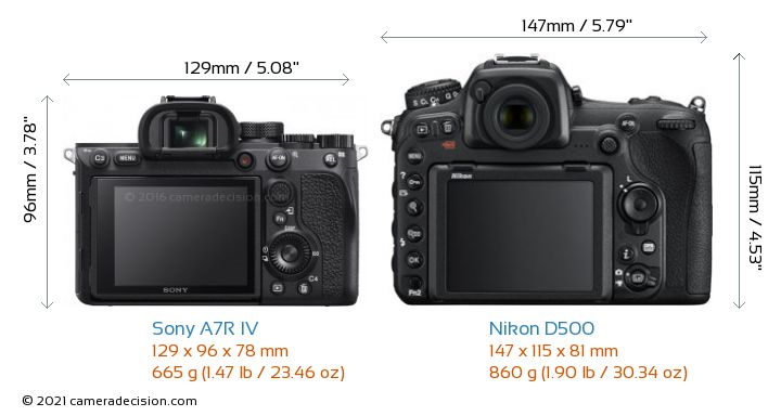 Sony A7R IV vs Nikon D500 Camera Size Comparison - Back View