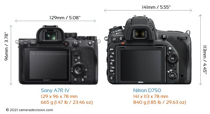 Sony A7R IV vs Nikon D750 Camera Size Comparison - Back View