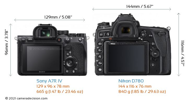 Sony A7R IV vs Nikon D780 Camera Size Comparison - Back View