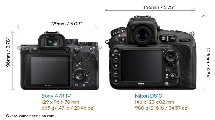 Sony A7R IV vs Nikon D810 Camera Size Comparison - Back View