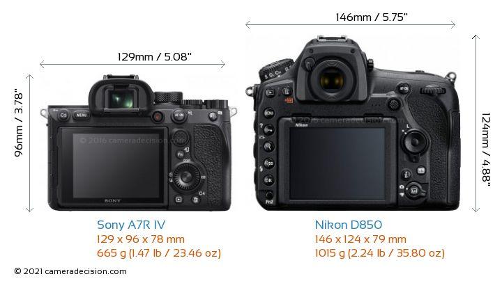 Sony A7R IV vs Nikon D850 Camera Size Comparison - Back View