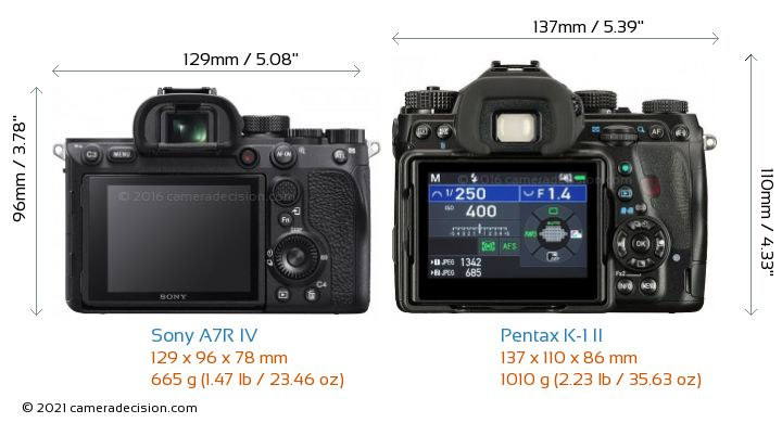 Sony A7R IV vs Pentax K-1 II Camera Size Comparison - Back View