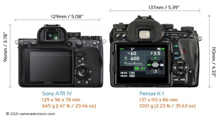 Sony A7R IV vs Pentax K-1 Camera Size Comparison - Back View