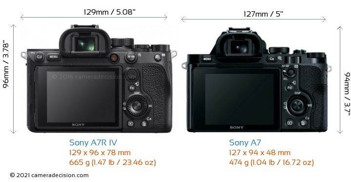 Sony A7R IV vs Sony A7 Camera Size Comparison - Back View