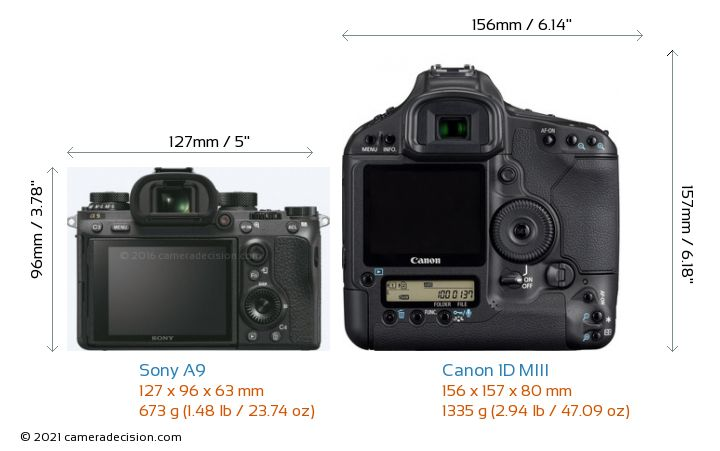 Sony A9 vs Canon 1D MIII Camera Size Comparison - Back View
