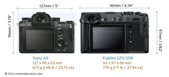 Sony A9 vs Fujifilm GFX 50R Camera Size Comparison - Back View