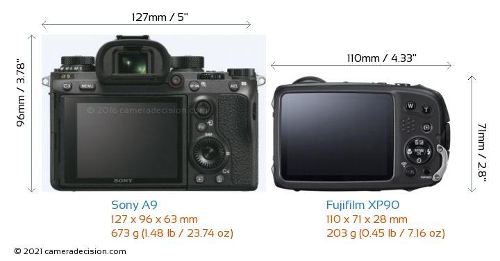 Sony A9 vs Fujifilm XP90 Camera Size Comparison - Back View