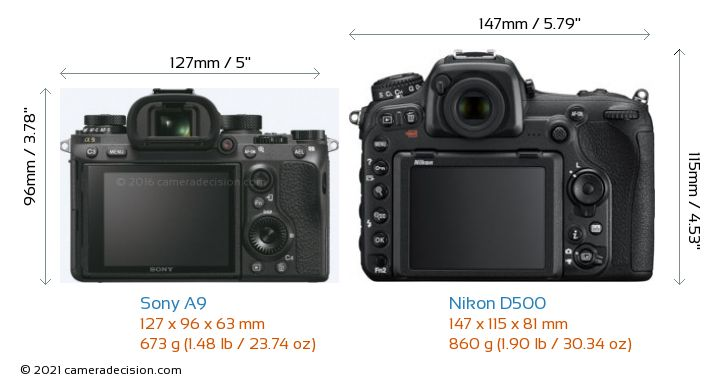 Sony A9 vs Nikon D500 Camera Size Comparison - Back View