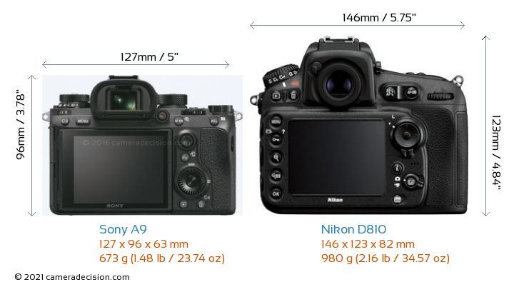 Sony A9 vs Nikon D810 Camera Size Comparison - Back View