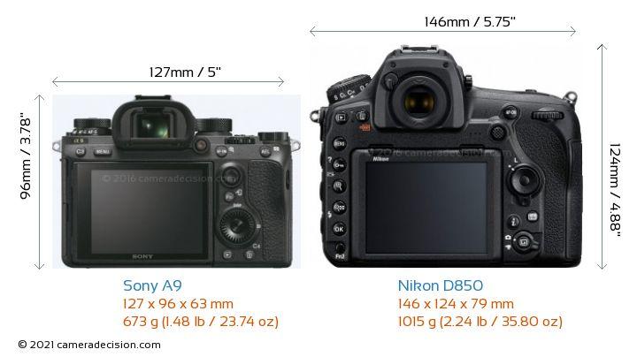 Sony A9 vs Nikon D850 Camera Size Comparison - Back View