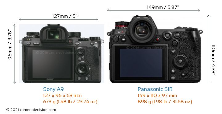 Sony A9 vs Panasonic S1R Camera Size Comparison - Back View