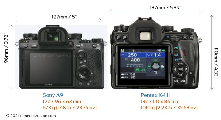 Sony A9 vs Pentax K-1 II Camera Size Comparison - Back View