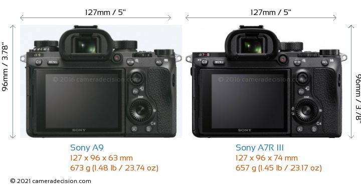 Sony A9 vs Sony A7R III Camera Size Comparison - Back View