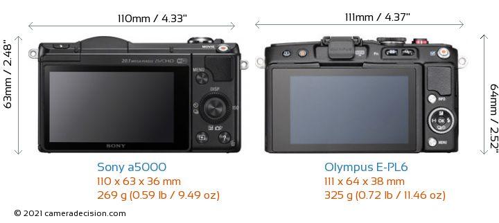 Sony a5000 vs Olympus E-PL6 Camera Size Comparison - Back View