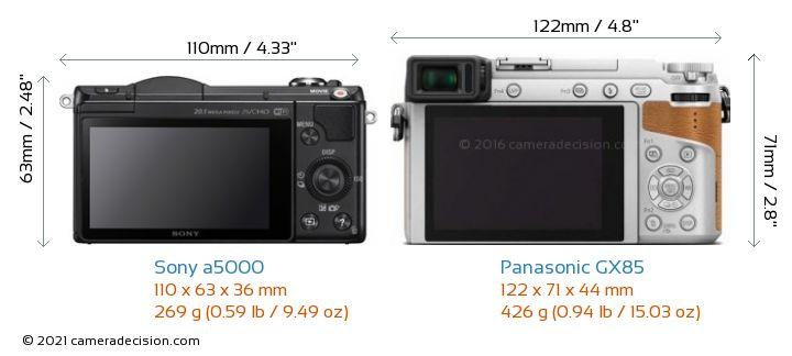 Sony a5000 vs Panasonic GX85 Camera Size Comparison - Back View
