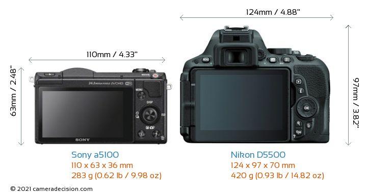 Sony a5100 vs Nikon D5500 Camera Size Comparison - Back View