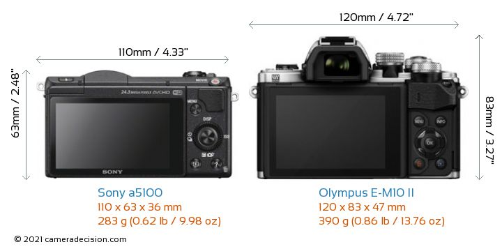 Sony a5100 vs Olympus E-M10 II Camera Size Comparison - Back View