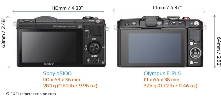 Sony a5100 vs Olympus E-PL6 Camera Size Comparison - Back View